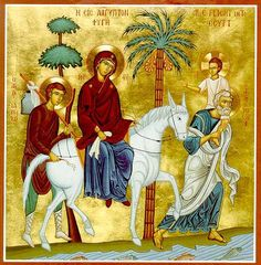 In this icon, we see The Flight into Egypt. We see Christ is already older and sits upon Joseph's shoulders, we see St. James or Iakovos with them. Also, notice Joseph's age again. He is properly depicted in this icon. Religious Icons, Religious Art, Byzantine Icons, Orthodox Christianity, Holy Family, Orthodox Icons, I Icon, St Joseph, Sacred Art