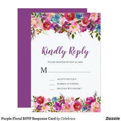 Purple Floral RSVP Response Card