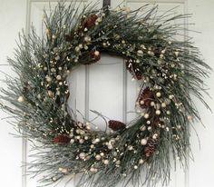 ONLY ONE! - Artificial Wreath - Rustic Wreath - Winter Wreath - Pine Wreath - Home Decor - Berry Wreath - Christmas Wreaths - Cabin Decor by Designawreath on Etsy