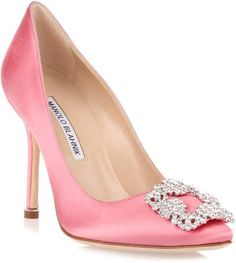 Pink blush satin evening pump with a clear crystal embellished ornament from Manolo Blahnik. The Hangisi pump has a slightly pointed toe, a covered heel measuring approximately / high, and cream leather lining. Clear High Heels, Clear Shoes, Pink High Heels, Pink Pumps, Satin Pumps, Pink Shoes, Women's Shoes, Pointed Toe Pumps, High Heel Pumps