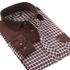 Men's Plaid Shoulder Patch Long Sleeved Shirt