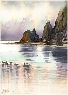 Watercolor Painting By Thomas Schaller - Art Collection Watercolor Painting Techniques, Watercolor Landscape Paintings, Watercolor Artists, Watercolour Painting, Landscape Art, Abstract Watercolor, Watercolours, Painting Lessons, Painting Tutorials
