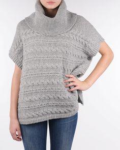 Holebrook Ariele poncho grey melange knit 422436 950 - Puserot Zoovillage