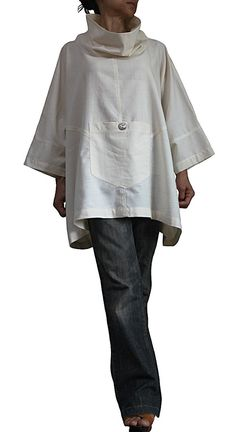 ChomThong Hand Woven Cotton 100%  Color : Off White  One-size-fits-all Chest : 210cm Length : 66cm The measurement from the center of the back of the neck to end the sleeves : 64cm  Without Lining  (for your reference, the female model is 158cm tall.)