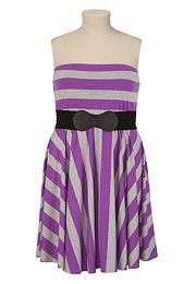 Belted Contrast Stripe Tube Dress - maurices.com