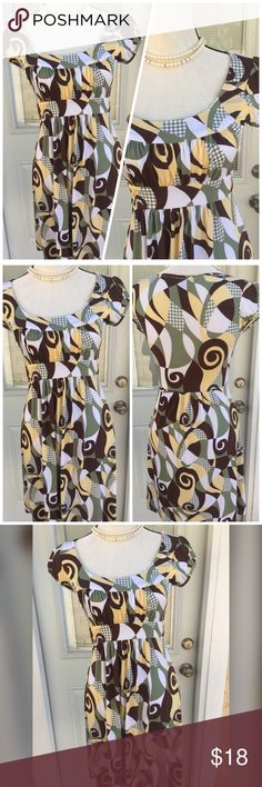 """CUTE DRESS💛💚😘 Short sleeve cute dress. Chest 33-34"""". Beautiful yellow,brown, green and white. Machine wash gentle, line dry.💚💛💚💛💚💋💛😊 BCX Dresses"""