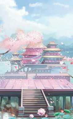 Anime Backgrounds Wallpapers, Anime Scenery Wallpaper, Landscape Wallpaper, Aesthetic Pastel Wallpaper, Fantasy Art Landscapes, Fantasy Landscape, Fantasy Artwork, Landscape Art, Cherry Blossom Wallpaper Iphone