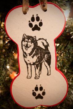 ae842a5d29a5 Malamute Standing - Bone Ornament.  12.00