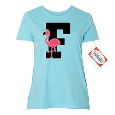 Inktastic Monogram Letter F Flamingo Bird Women's Plus Size T-Shirt