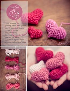 Amigurumi crochet Hearts - Free Pattern here: http://eskimorose.blogspot.co.uk/2013/02/pattern-cute-amigurumi-hearts.html