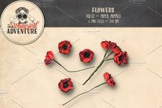 Paper Poppies by On A Whimsical Adventure on @creativemarket