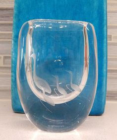 Mid Century Kosta Modern Vicke Lindstrand signed Small Crystal Vase with 4 Cranes Swedish Art Glass by gypsytejas on Etsy