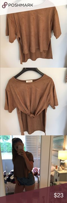 LF suede cropped shirt Never worn shirt from LF in cali. Very stylish with slits on side. I like to roll the sleeves. LF Tops Blouses