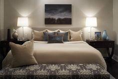 Kimberley Seldon Design Group   Bedrooms   Beige And White Bedding, Chic  Bedroom, Blue U0026 Tan Sophisticated Bedroom Design With Upholstered Headboard