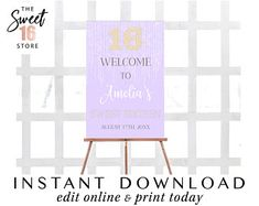 Sweet 16 & Quinceanera Invitations by Purple Sweet 16, 16th Birthday Decorations, Edit Online, Quinceanera Invitations, Sweet 16 Parties, Party Signs, Sweet Sixteen, Sign Design