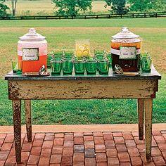 Lemonade and iced tea station.