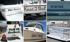 Naming a boat can cause much amusement - as the Boat McBoatface debacle proved. And now some of the funniest boat names from around the world have been shared in an online gallery. Cool Boat Names, Funny Boat Names, Big Deck, Deck Boat, Boat Name Decals, Pontoon Boat Party, Best Entrepreneur Quotes, Boat Humor, Boat Wraps