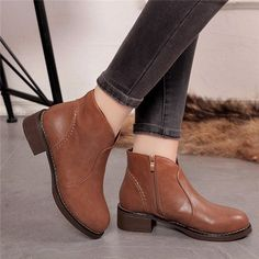 Punk Black Zipper Casual Block Ankle Mid Heel Boots is hot-sale. Come to  NewChic to buy womens boots online.