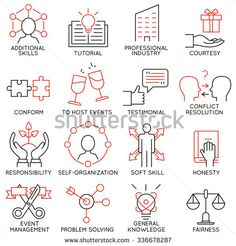 Vector set of 16 icons related to business management, strategy, career progress and business process. Mono line pictograms and infographics design elements - part 28