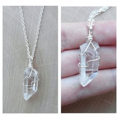 Wire Wrapped Quartz Crystal Necklace