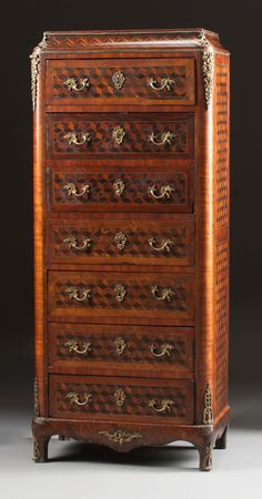 Furniture : French, A FRENCH MIXED WOOD PARQUETRY GILT BRONZE MOUNTED SECRÉTAIRE ÀABATTANT. 19th century. 51-1/2 x 22 x 12 inches (130.8 x 5...
