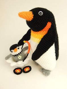 Papa and Pierre Penguin by mojimojidesign on Etsy