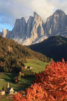 Mountain Village, The Dolomites, Italy  I find this surreal.....for real :-)