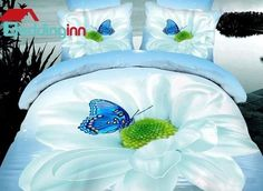 Delightful Flower and Blue Butterfly Cotton Duvet Cover Sets  Buy link>>>http://urlend.com/m2uQJbj Live a better life, start with Beddinginn http://www.beddinginn.com/product/Delightful-Flower-And-Blue-Butterfly-Print-4-Piece-Cotton-Duvet-Cover-Sets-11246181.html