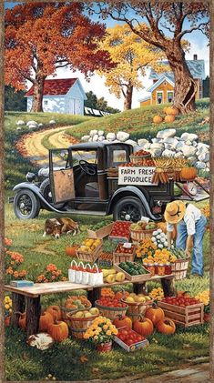 Autumn Painting, Autumn Art, Autumn Leaves, Farm Paintings, Wilmington Prints, Autumn Scenes, Fall Wallpaper, Country Art, Country Life