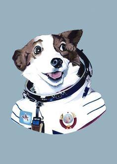 Strelka The Space Dog print 5x7. $10.00, via Etsy.