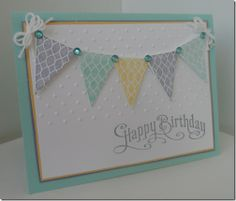 Pennant Birthday Card A way of using those shiny bling my friend gave me. Card Making Inspiration, Making Ideas, Embossed Cards, Handmade Birthday Cards, Card Tags, Paper Cards, Cool Cards, Kids Cards, Anniversary Cards