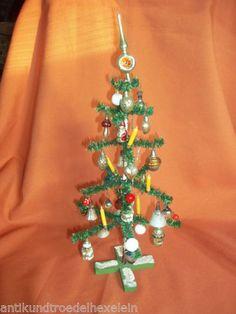 wunderschöner alter Weihnachtsbaum 40 cm. viele alte Christbaumkugeln - Kerzen in Antiquitäten & Kunst, Volkskunst, Erzgebirge, Antike Originale vor 1945, Sonstige   eBay