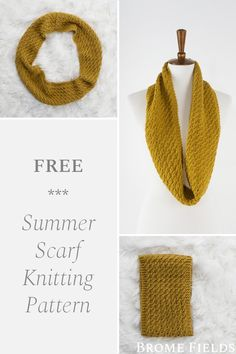 Grab your free summer cowl knitting pattern! Create a lovely texture using the Ripple Knit Stitch, which is slightly airy with the perfect drape. This cowl is knit flat and then seamed together, so you can try it on as you go. Dishcloth Knitting Patterns, Lace Knitting, Crochet Patterns For Beginners, Knitting For Beginners, Tricot Simple, Knit Headband Pattern, Peek A Boo, Knitting Projects, Knitting Tutorials