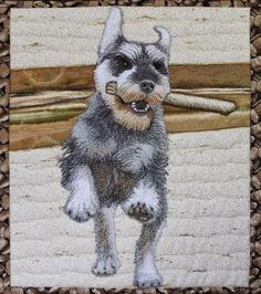 Pet portrait, thread painted, by Sonya Prchal (New Zealand).  Workshop.