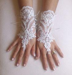 Ivory french lace gloves bridal gloves ivory lace by GlovesByJana