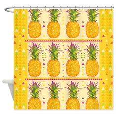 Shower Curtain  Pineapples 3  Ornaart Design by Ornaart on Etsy, $89.00