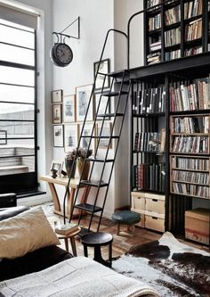 Loft Apartment Decorating Ideas is the ideal way to produce your outdoor or interior design looks great and become more beautiful. The attic space has to tackle the problem of solitude from the living regions, be a sleeping place and… Continue Reading → Home Library Design, Loft Interior Design, House Design, Loft Apartment Decorating, Apartment Living, Apartment Ideas, Apartment Design, Industrial Apartment, Industrial House