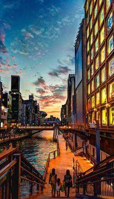 Osaka sunset - Taken from the bridge on Midosuji boulevard Japan