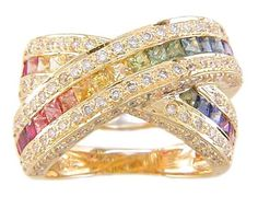 18KT Rainbow Sapphire and Diamond Ring  | Luxury diamond  Multi colored Sapphire Jeweled gold ring