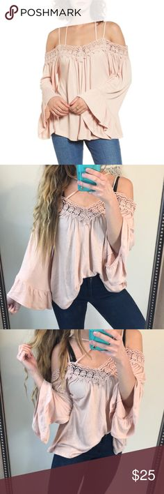 NWT✨Sun & Shadow Crochet Off Shoulder Babydoll Top New with tags, Sun & Shadow. Size XS (oversized). Blush pink with a crocheted top, off the shoulder look with bell sleeves! Super soft and flowy! Sun & Shadow Tops Tees - Long Sleeve