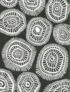 MOD CIRCLES -Geometric Linocut Print - Black & White Mid Century Modern Print - 8x10 Minimalist Print $25.00