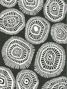 LINOLEUM BLOCK PRINT - Geometric Circles - Black & White Mid Century Modern Print - 8x10 Minimalist Print