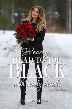 head to toe black with pearly details