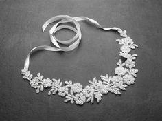 White Beaded Lace Applique Wedding Headband - Affordable Elegance Bridal -