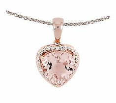 2.65ct tw Morganite Heart Pendant w/ 18 Chain,14K Rose Gold