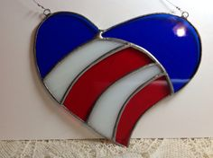 Stained Glass Patriotic Heart Suncatcher by jlm4053 on Etsy, $20.00