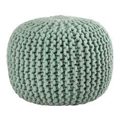 Puf trenzado de lana verde SAMMY