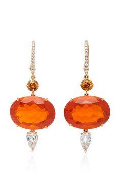 Orange Fire Opal Shimmers Earrings by Sidney Garber Fall Winter 2018
