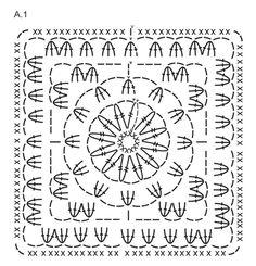 """Couverture DROPS au crochet, en """"Big Delight"""" avec bordures en """"Big Merino"""". ~ DROPS Design"""