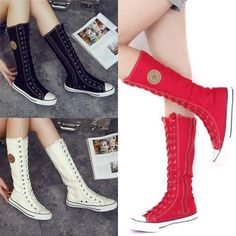 PUNK EMO Canvas Boots Sneaker Women Girl's Shoes Knee High Lace UP Tall Boots LI | Clothing, Shoes & Accessories, Women's Shoes, Boots | eBay!